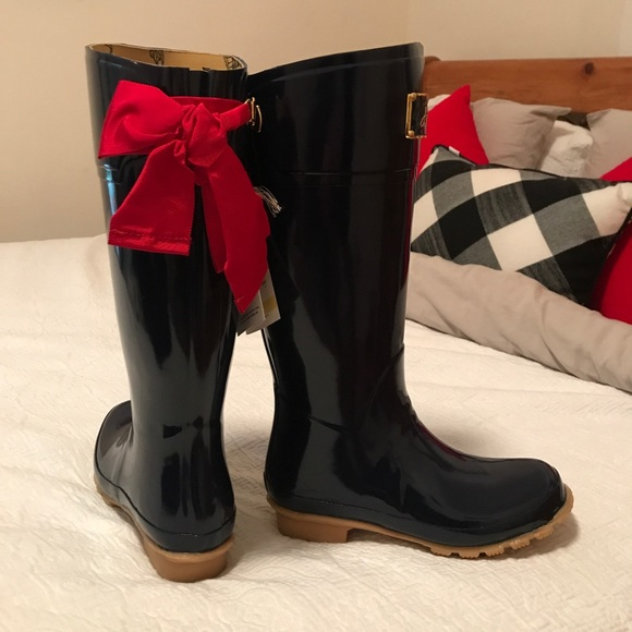Red Rain Boots With Bow